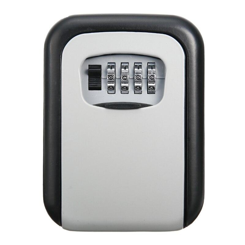 House Safes 1pc Wall Mounted Aluminum Alloy Key Safe Box Weatherproof 4 Digit Combination Key Storage Lock Box 12.5*9.5*4cm