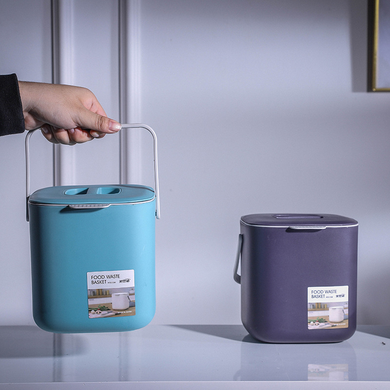 Plástico cozinha resíduos de alimentos lixo pode compostagem com dreno lixo bin lixo recipiente organizador acessórios ferramentas cesta