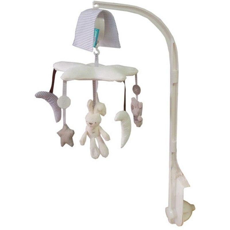Lune étoile lapin bébé berceau Mobile doux boîte à musique avec support bras boîte à musique musique lit rotatif cloche jouets en peluche cadeau nouveau-né