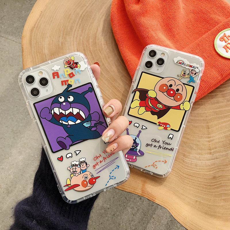 INS Cartoon Cute <font><b>Anpanman</b></font> Baikinman <font><b>Case</b></font> For <font><b>iPhone</b></font> 11 Pro X Xs Max XR 8 7 Plus Japan Funny Clear Soft Silicon Couple Cover image