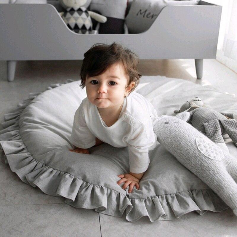 Cotton Children's Mat Soft Lace Kids Carpet Toys Baby Playmat Newborns Round Floor Game Rug Pad Mat For Children Room Decor