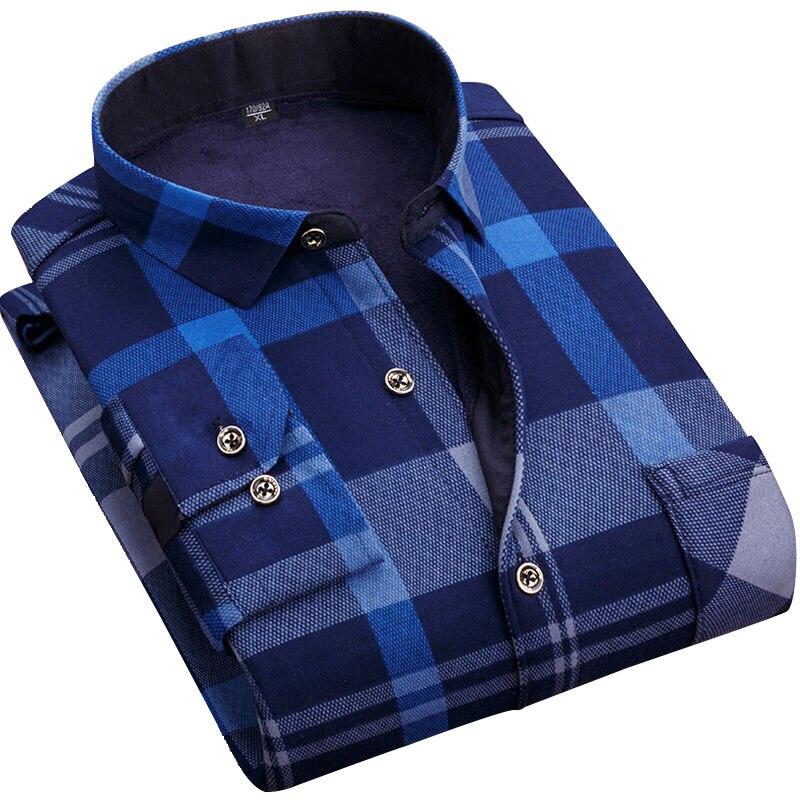 QIHUANG 2019 Winter Thicken Warm Men's Shirts Fashion Slim Male Social Shirts Plus Size L-5XL Men Dress Shirts Asain Size