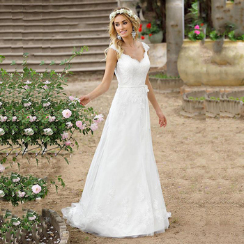 Vestido De novia bohemio Vestido De novia con botones en la espalda con Apliques De encaje Vestido De novia De princesa De línea a vestidos De novia De China