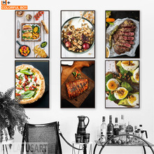 Pizza Steak Lemon Orange Salad Kitchen Nordic Posters And Prints Wall Art Print Canvas Painting Wall Pictures For Living Room цена и фото
