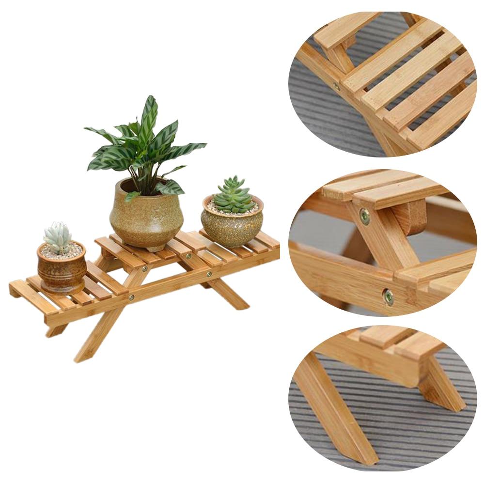 Rack Planter-Holder Flower-Shelf Display-Stand Table Bamboo Garden Living-Room Outdoor