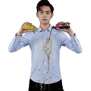 Image 2 - BROWON Thương Hiệu Áo Sơ Mi Nam Kinh Doanh Kỵ Nước Chất Liệu Tay Dài Chống Bám Bẩn Xã Hội Áo Sơ Mi Áo Sơ Mi Slim Fit Size Lớn 5XL