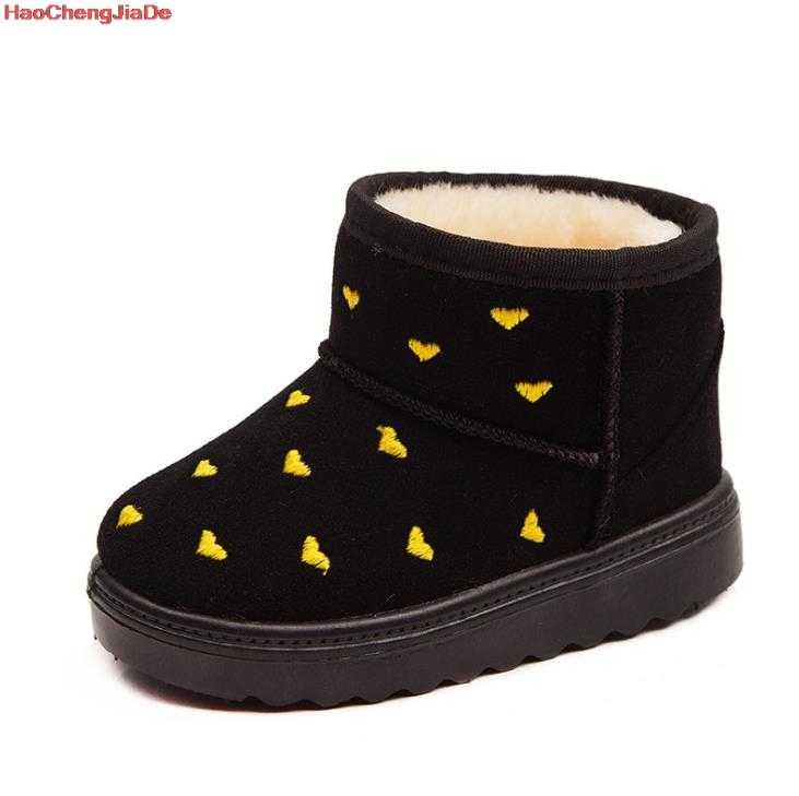 Новая зимняя детская обувь принцессы для малышей милые Нескользящие ботинки с круглым носком на плоской подошве для маленьких девочек Теплые детские зимние ботинки для детей