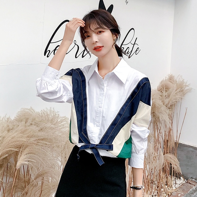 Autumn Women's Shirt Long Sleeve Blouse Women Loose Stitching Shirt Top Blusa Feminina