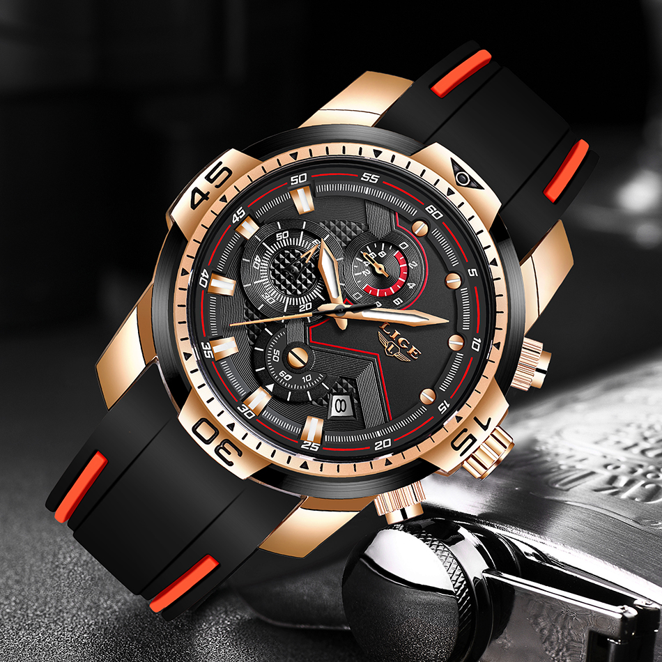H0d5ab0ddedd343faae79711912b3e1d5k 2020 LIGE Sport Watch Men Brand Luxury Chronograph Silicone Strap Quartz Mens Watches Waterproof Clock Relogio Masculino+Box