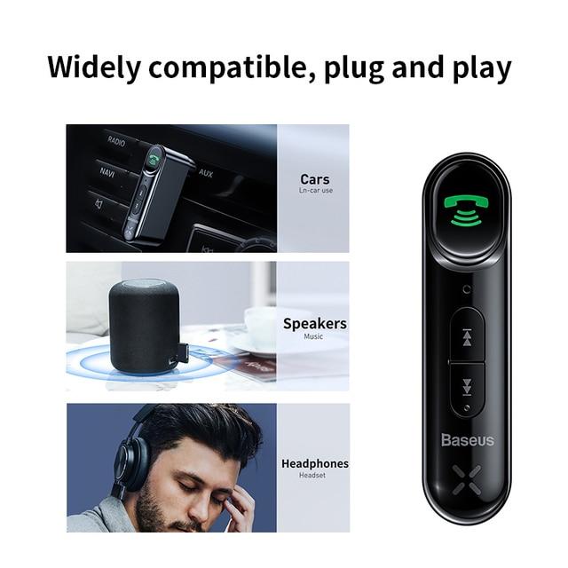 Baseus voiture Aux Bluetooth 5.0 adaptateur sans fil 3.5mm récepteur Audio pour Auto Bluetooth Kit mains libres voiture haut-parleur casque 1