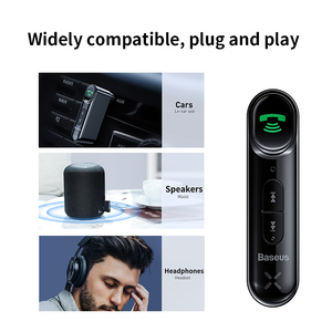 Image 2 - Baseus Adaptador Bluetooth 5.0 Sem Fio Receptor de Áudio 3.5 milímetros Aux Carro para Auto Mãos Livres Bluetooth Altifalante Do Kit para Carro Fone De Ouvido