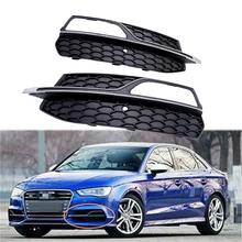 цена на 1 Pair Car Front Bumper Fog Light Mesh Grill Grille Black Car Style for Audi A3 S3 S-Line 8V Pre-Facelift 2013 2014 2015 2016