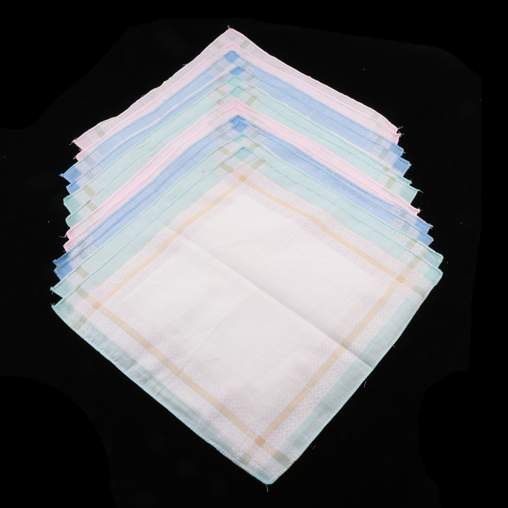 12 Pieces 100% Cotton Handkerchiefs Ladies And Gentlemen Plaid Pocket Square Handkerchief Women Cotton
