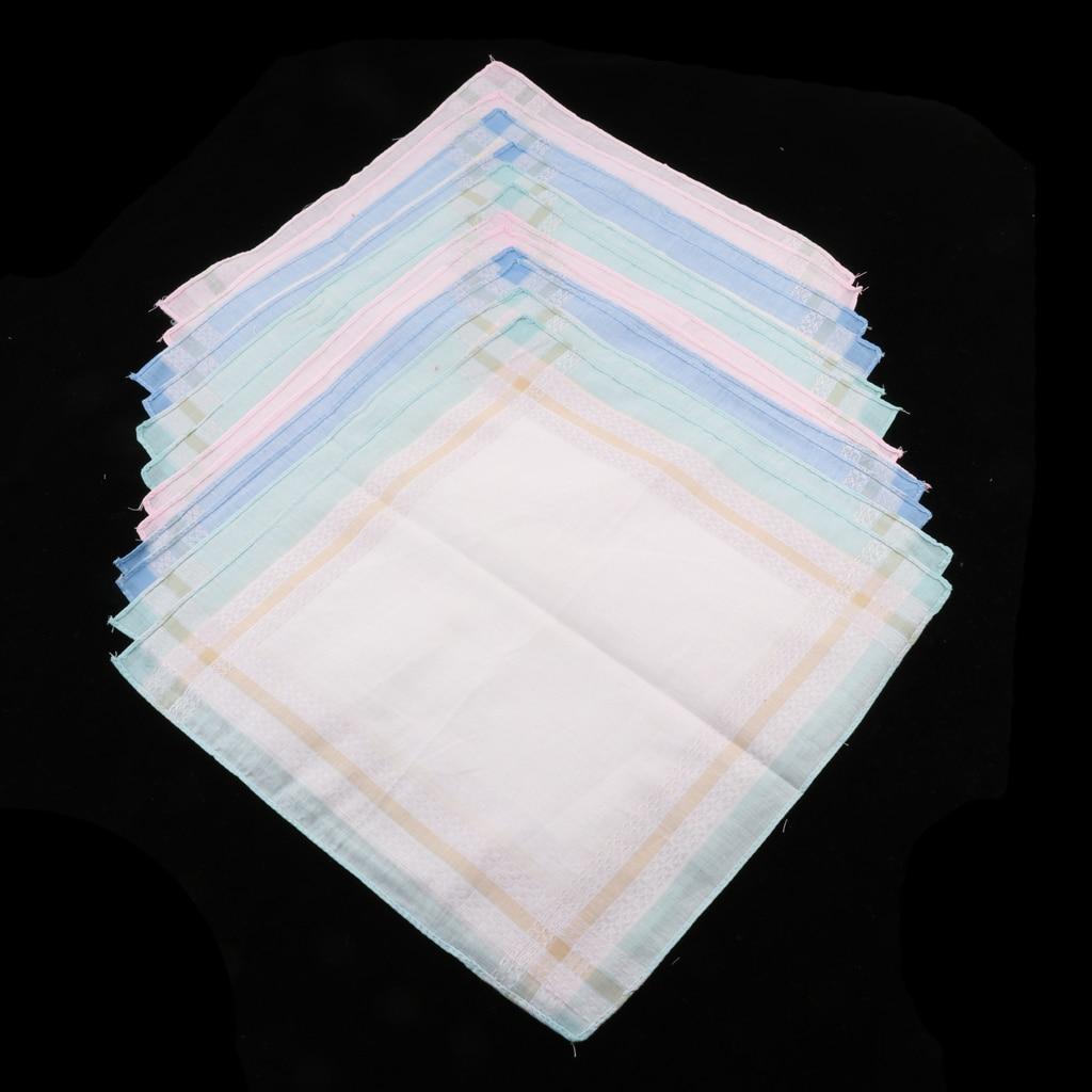 12 Pieces 100% Cotton Handkerchiefs Ladies And Gentlemen Plaid Pocket Square Handkerchief Women Cotton
