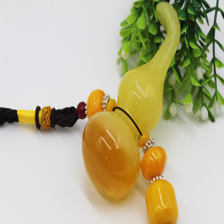 Beeswax Gourd Automobile Hanging Ornament Agate Beads Car Hanging Yellow Gourd Car Interior Trim Supplies Ornaments     - title=
