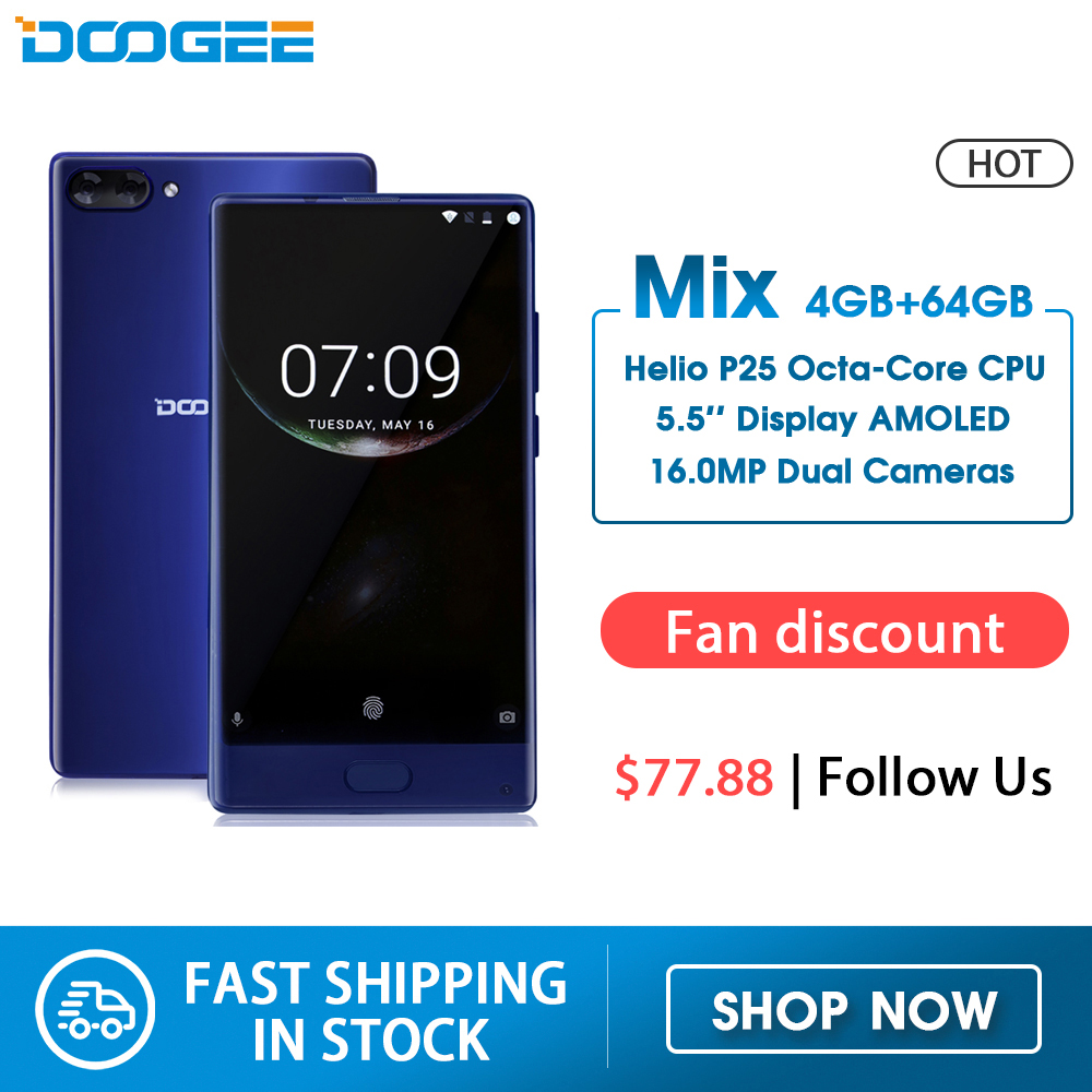 American Version DOOGEE MIX 4GB+64GB Bezel-less Smartphone Dual Camera 5.5'' AMOLED MTK Helio P25 Octa Core Mobile Phones