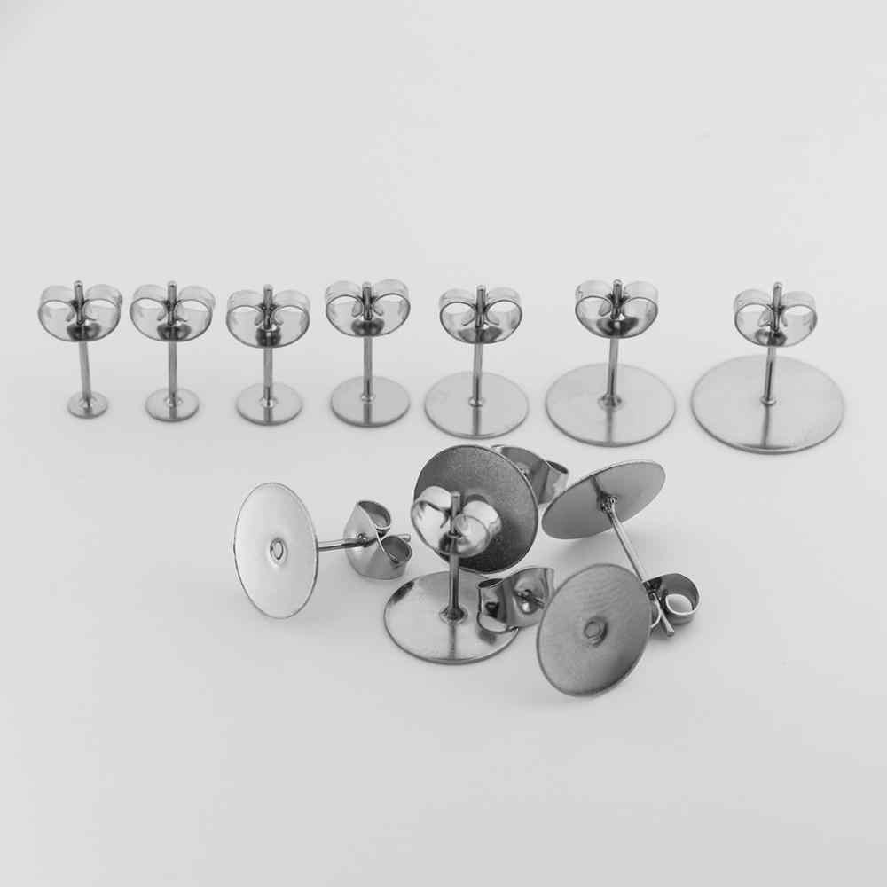 100 adet/grup 3 4 5 6 8 10 12mm paslanmaz çelik boş mesaj küpe damızlık taban pimleri küpe fiş malzemeleri DIY takı yapımı için