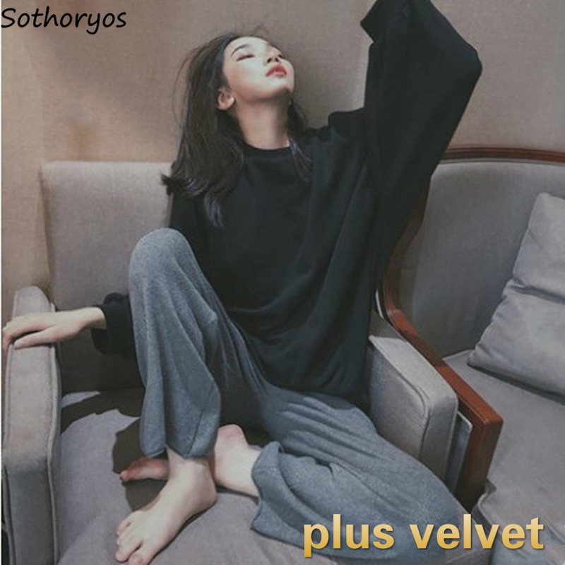 Pajama Sets Women Plus Velvet Thickening O-neck Loose Simple Womens Korean Style Warm Leisure Ins Home Clothing Soft Elegant