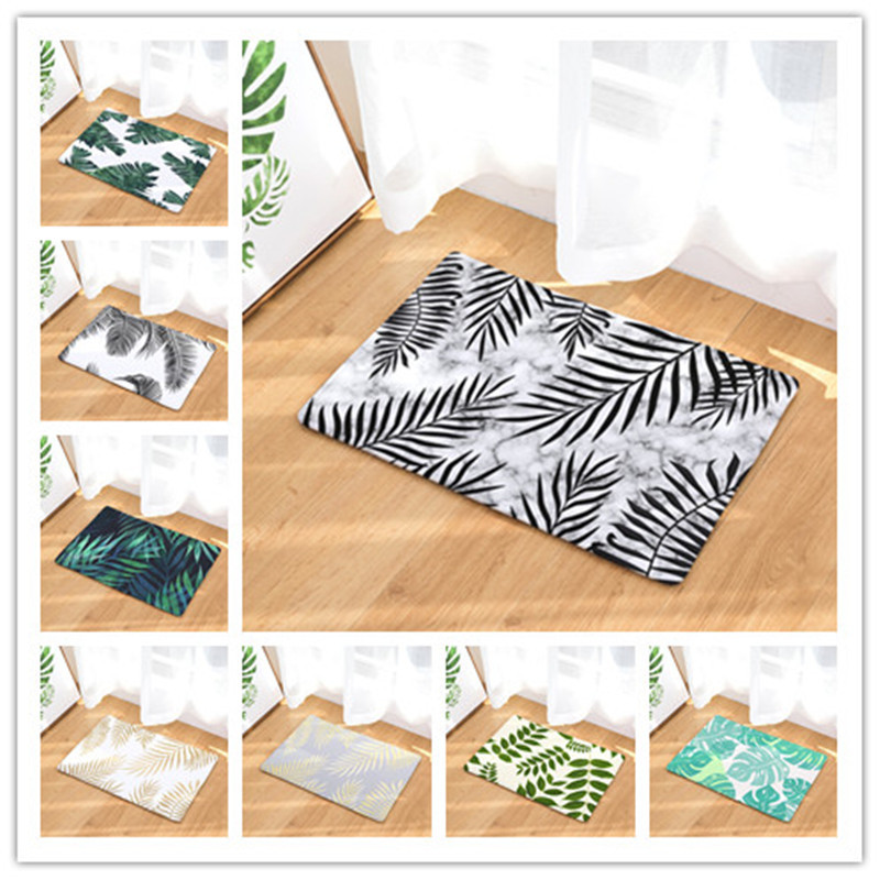 1 pc Banana leaf home bathroom mat absorbent carpet door flannel printing foot pad Bathroom set rug