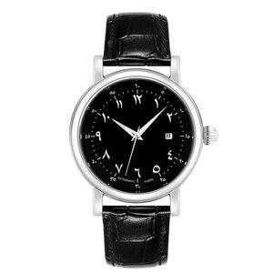 Image 3 - Men Arabic Watches Muslim Wrist Watch Automatic Self wind Movement Luxury Urdu Number AZAN Watches