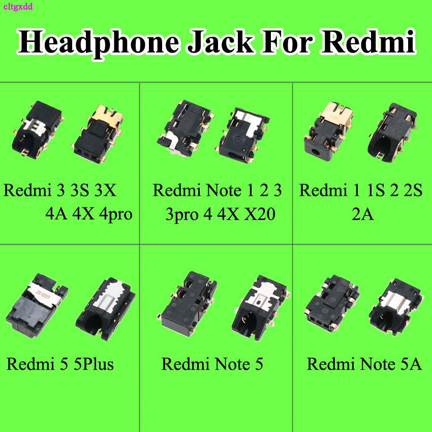 cltgxdd 2pcs Earphone Headphone <font><b>Jack</b></font> Audio flex For xiaomi Redmi 1S 2 2A <font><b>3</b></font> 3S 3X 4 4x Pro X20 <font><b>5</b></font> 5Plus Redmi Note 1 2 <font><b>3</b></font> 4 <font><b>5</b></font> 5A image