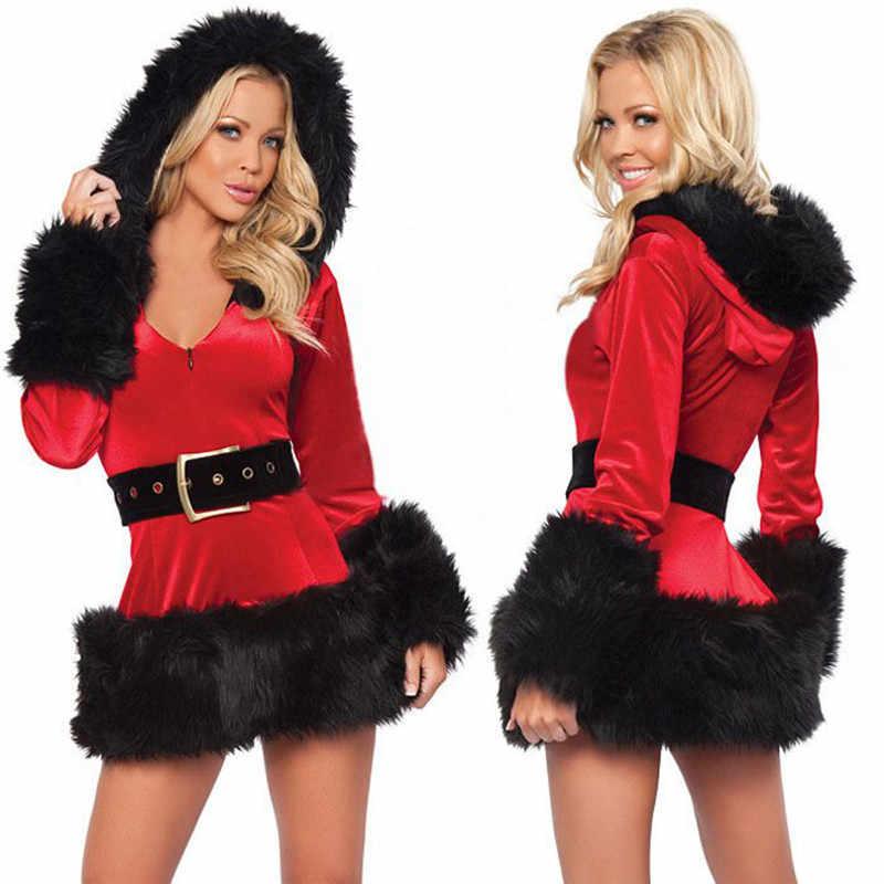 مثير المرأة الخامس الرقبة سانتا عيد الميلاد زي فساتين فاخرة عيد الميلاد تأثيري هوديي القمم