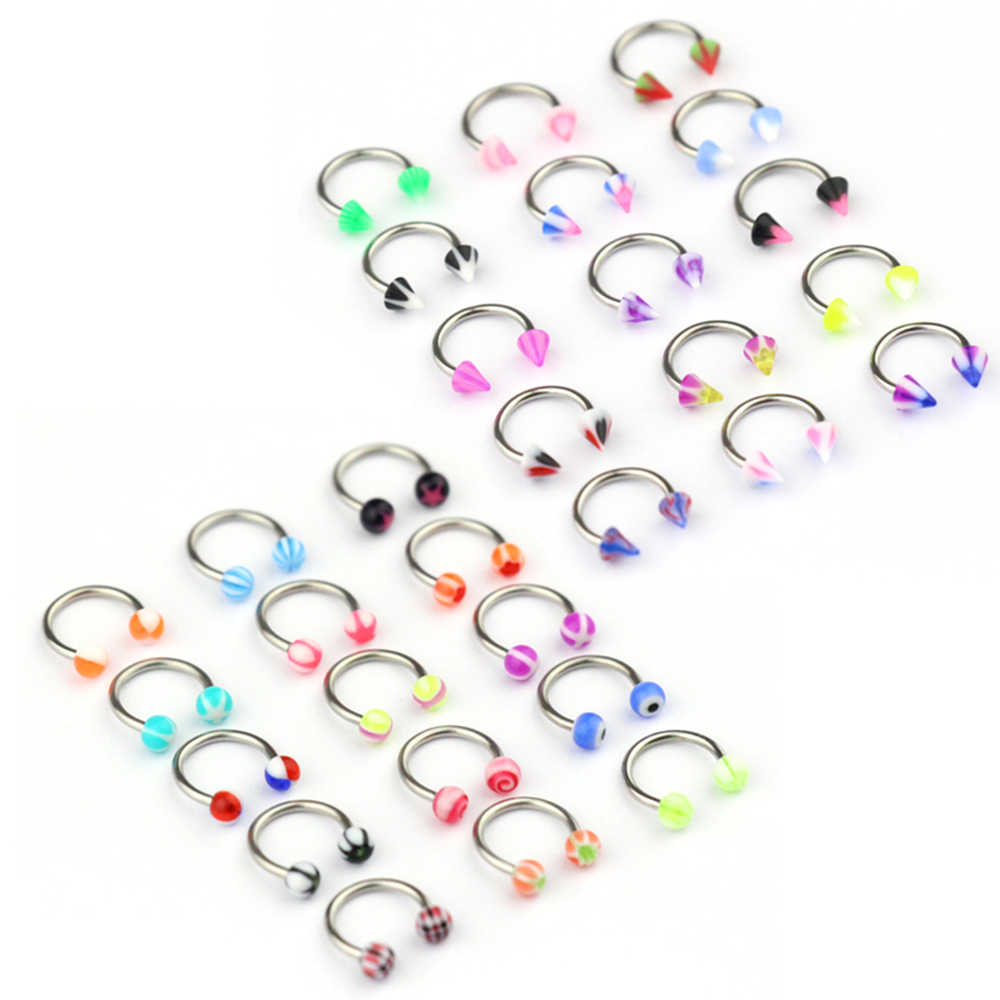 10pcs/set Colorful Acrylic Nose Rings Ear Piercing Circular Barbell Horseshoe Ring Lip Labret Eyebrow Ear Piercings Body Jewelry