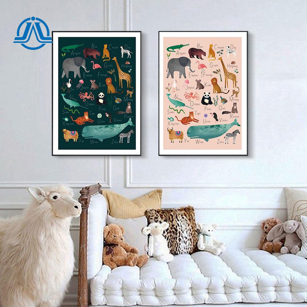 Картина на холсте с изображением животного ABC Quote, постеры и принты для детей, для обучения, настенная живопись, современная картина для детс...