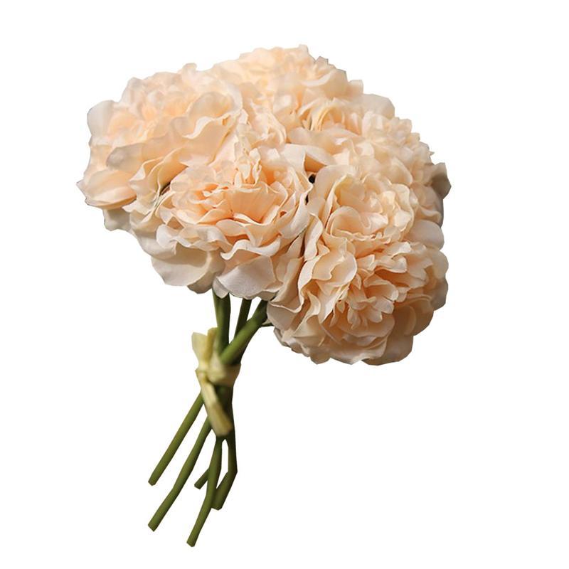 5 pièces Simulation pivoine réaliste pivoine Bouquet fleur artificielle mariage Bouquet fête décor à la maison (Champagne)