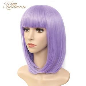 Парики для женщин FREEWOMAN, фиолетовый синтетический Боб, короткий парик с челкой, искусственные волосы, фиолетовый, черный парик, термостойкий...