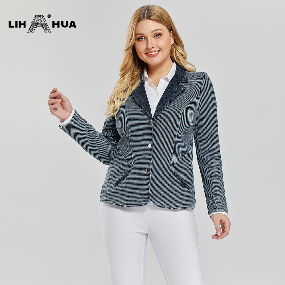 LIH HUA Women's Plus Size Casual Fashion Busine Denim Suit Premium Stretch Knitted Denim Slim Fit Denim Jacket