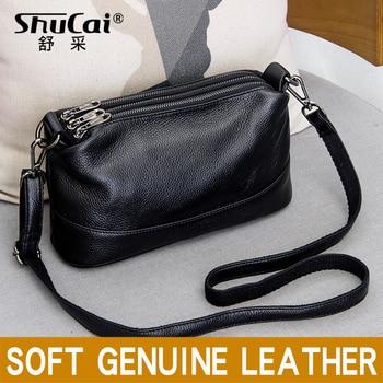 цена на SHUCAI genuine leather women shoulder bag fashion crossbody bag for women 2020 luxury Ladies Solid Casual Small messenger bags