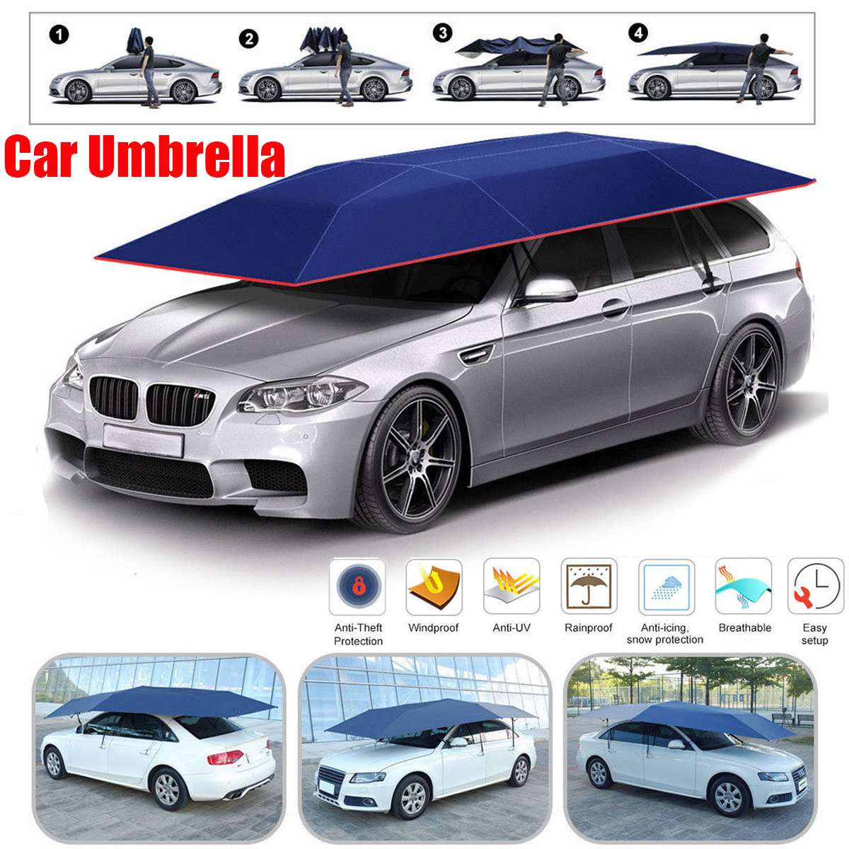 Semi-automatic Outdoor Car Vehicle Tent Umbrella Sunshade Roof Cover Anti-UV Kit Car Umbrella Sun Shade Car Umbrella