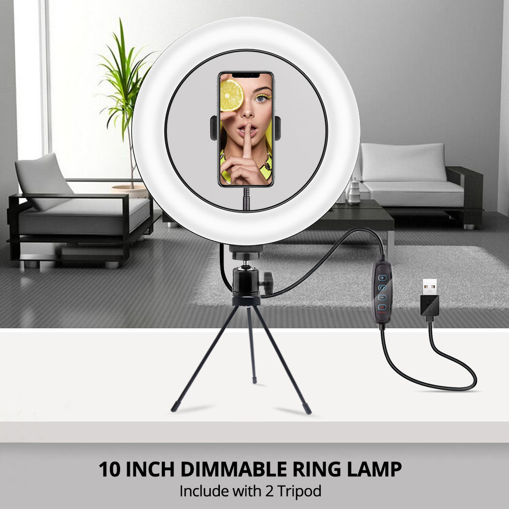 Mcoplus Selfie Ring Light lamp Dimmable Photography LED Light With Tripod For SLR Camera Phone Video Live Youtube tik tok acces