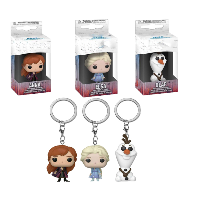 Hot Original Box  Frozen 2 Princes Elsa Anna Olaf Cartoon Doll Keychain Children Toy Birthday Gift Collection Toys