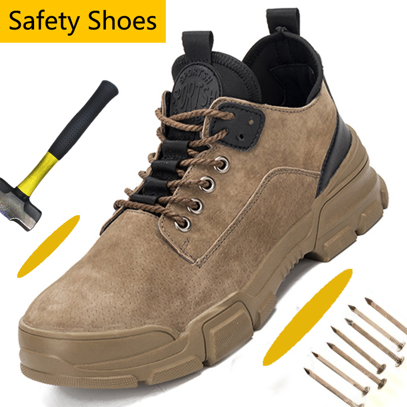 Suede Leather Steel Toe Shoes Athletic Work Safety Shoes Industrial & Construction Indestructible Work Shoes Outdoor Shoes Men