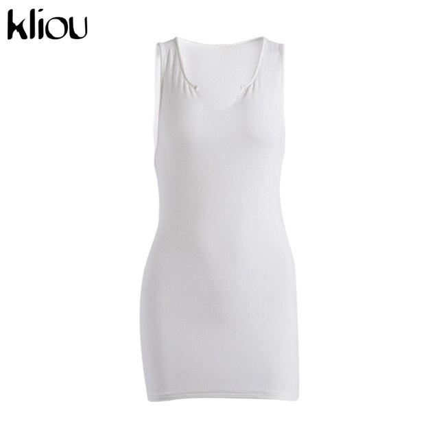 Kliou cotton sleeveless v-neck women dress elastic fitness fashion solid white skinny bodycon mini dresses streetwear outfits 6