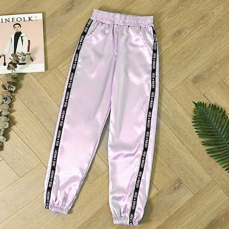 Highlight Harem Hosen 2019 frauen Sommer Große Tasche Satin Hosen Harajuku Fashion Jogger Hosen Frauen Glänzend Band Hose