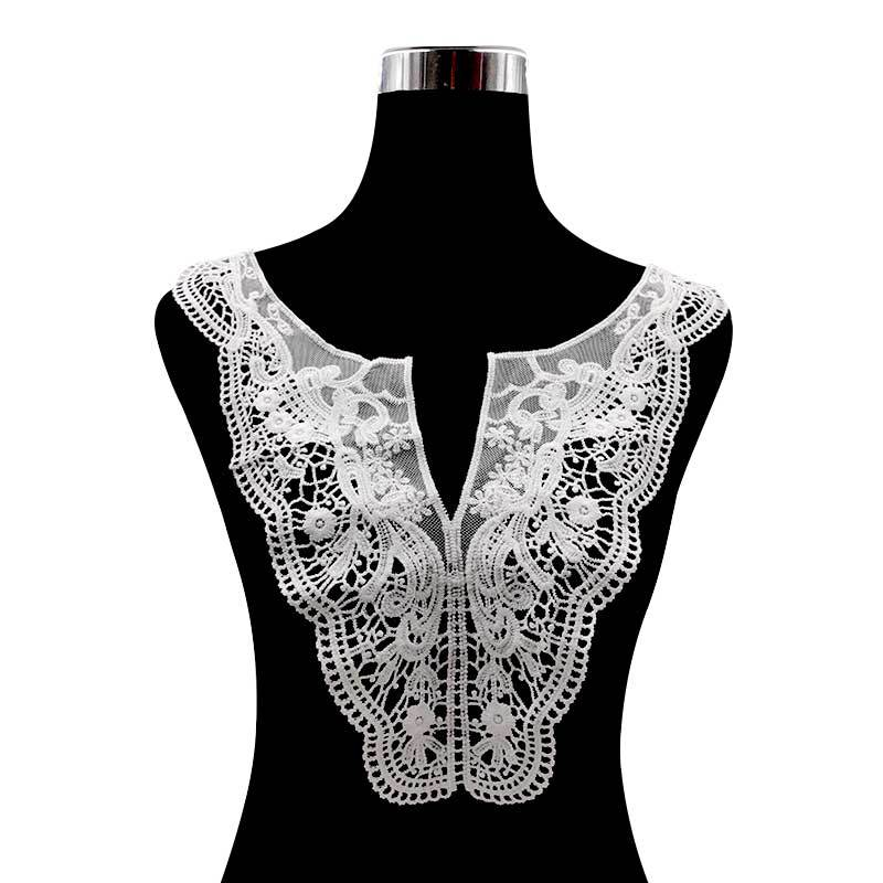 Africa Luxury Black Flower Lace Collar 3D Cotton Fabric Patches DIY Embroidery Sewing Guipure Fashion Wedding Neckline Decor