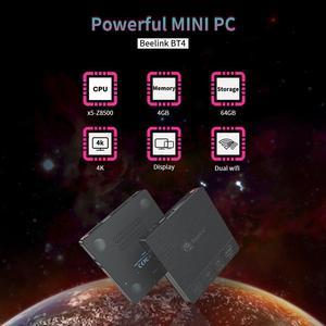 Beelink BT4 Новый настольный мини ПК Intel Atom X5-Z8500 LPDDR3 4 Гб 64 Гб 2,4G/5G двойной WIFI BT4.0 поддержка 4K двухэкранный медиаплеер