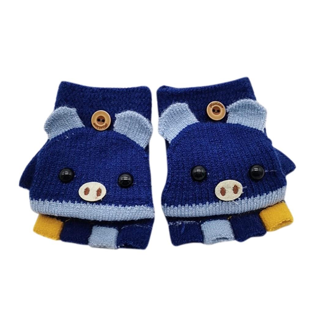 Детские зимние теплые вязаные варежки без пальцев, вязаные перчатки, удобные перчатки для девочек - Цвет: B