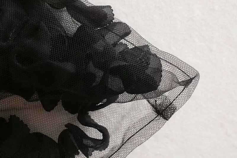 new women sexy appliques transparent casual black Shirts blouses women long sleeve patchwork mesh roupas femininas tops LS4513