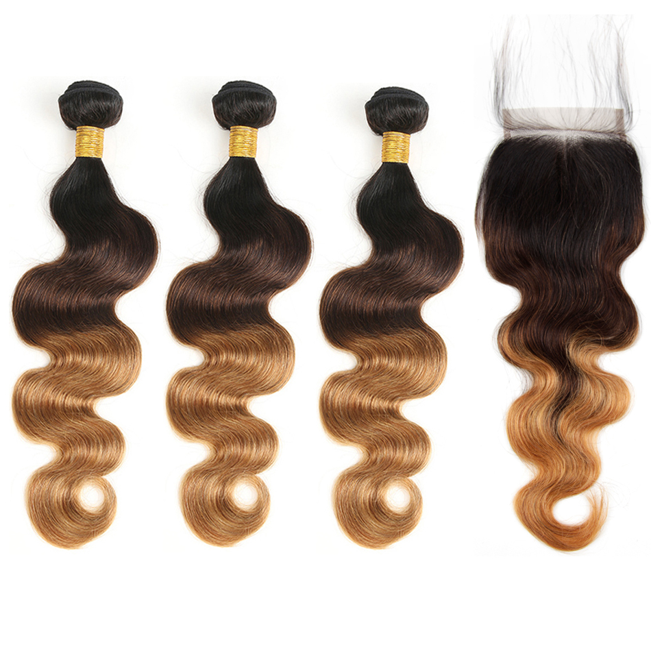 Honey Blonde Ombre Body Wave With Closure Brazilian Hair Weave 3 Bundles Dark Roots Remy Human Hair Bundles With Closure