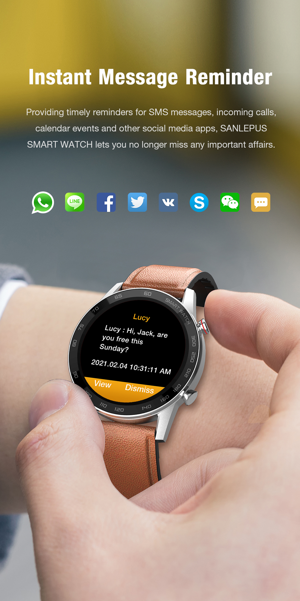 H0d5c46dd5ce4452ea9440a4014f08f2bQ 2021 SANLEPUS ECG Smart Watch Dial Call Smartwatch Men Sport Fitness Bracelet Clock Watches For Android Apple Xiaomi