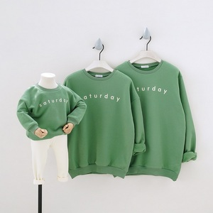 Autumn Winter Green Family Matching Outfits Look Mother Mommy and Me Daddy Baby Father Son Shirts Parent Child Outfits Clothes