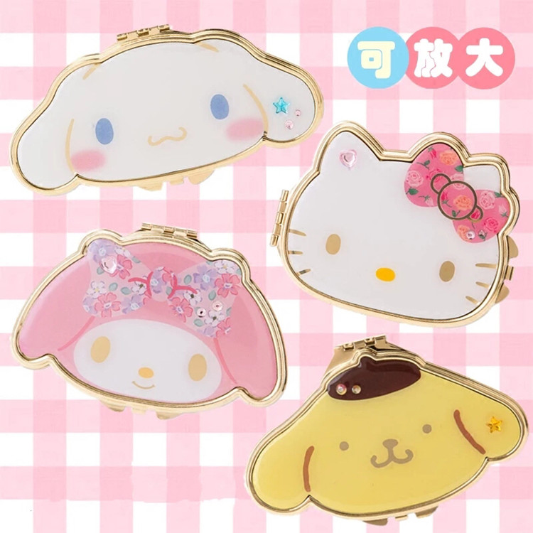 HelloKitty My Melody Cinnamoroll PomPompurin Makeup Mirror Cute Cartoon Double-sided Mirror Portable Makeup Mirror For Girl Gift