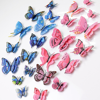 3D Butterfly Decoration Wall Stickers Colorful Rental Room Small Supplies Refridgerator Magnets Tile Removable Home Decor image