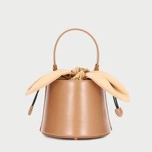 купить 100% Genuine Leather Bag Women Handbags 2019 Ladies Bow Bucket Hand Bags Shoulder Crossbody Bags for Women bolsa feminina по цене 2425.49 рублей