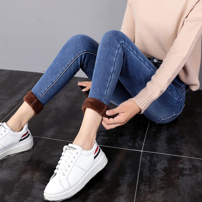 Winter High Waist Jeans Women Thick Velvet Warm Jeans Blue Mom Jeans Lamb Hair Skinny Jeans Stretch Pencil Pants Blue Trousers