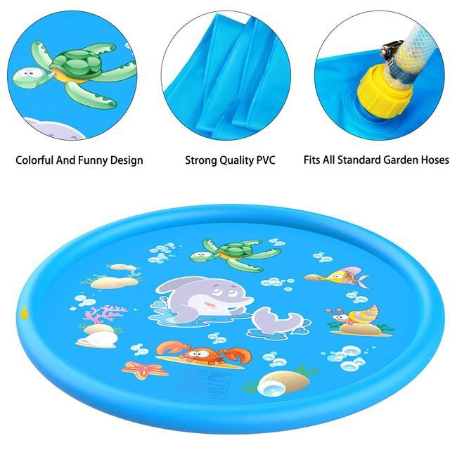 Splash Pad, 68″ Kids Splash & Sprinkler Pad